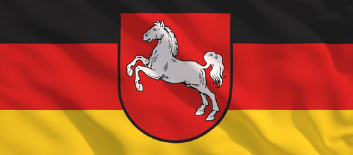 Lower,Saxony,State,Flag,On,Waving,Texture