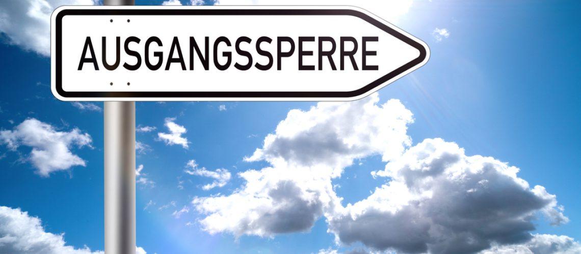 Ausgangssperre,-,German,Text,Curfew,On,A,Traffic,Sign,With